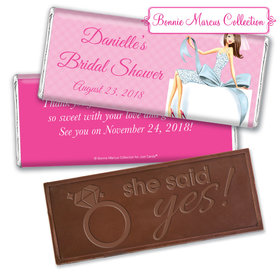 Personalized Bonnie Marcus Embossed Chocolate Bar & Wrapper - Bridal Shower Brunette Bride