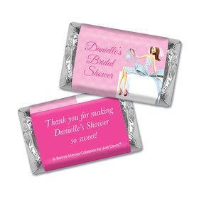 Personalized Mini Wrappers Only - Bonnie Marcus Bridal Shower Beautiful Bride with Bow Brunette
