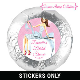 "Personalized 1.25"" Stickers - Bonnie Marcus Wedding Beautiful Bride with Bow Brunette (48 Stickers)"