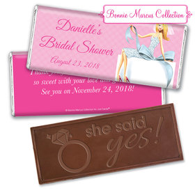 Personalized Bonnie Marcus Embossed Chocolate Bar & Wrapper - Bridal Shower Blonde Bride