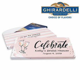 Deluxe Personalized Bubbly Bridal Shower Ghirardelli Chocolate Bar in Gift Box