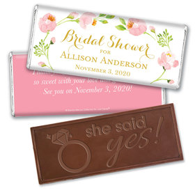 Personalized Bonnie Marcus Embossed Chocolate Bar & Wrapper - Bridal Shower Botanical Wreath