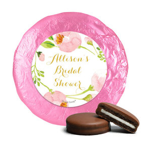 Personalized Milk Chocolate Covered Oreos - Bonnie Marcus Wedding Pink Botanical Wreath