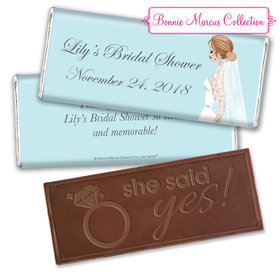 Personalized Bonnie Marcus Embossed Chocolate Bar & Wrapper - Bridal Shower Vintage Veil
