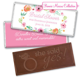 Personalized Bonnie Marcus Embossed Chocolate Bar & Wrapper - Bridal Shower Watercolor Blossoms