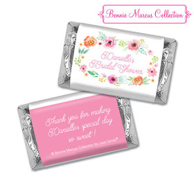 Personalized Hershey's Miniatures - Bonnie Marcus Bridal Shower Water Color White Blossoms