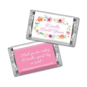 Personalized Mini Wrappers Only - Bonnie Marcus Bridal Shower Water Color White Blossoms