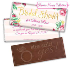 Personalized Bonnie Marcus Embossed Chocolate Bar & Wrapper - Bridal Shower Fabulous Floral