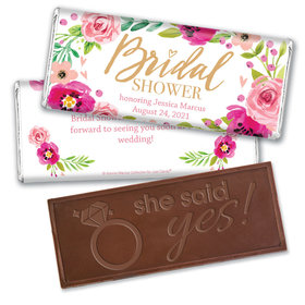 Personalized Bonnie Marcus Embossed Chocolate Bar & Wrapper - Birdal Shower Magenta Florals