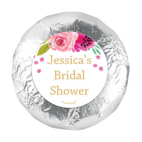 "Personalized 1.25"" Stickers - Bridal Shower Reception Magenta Florals (48 Stickers)"