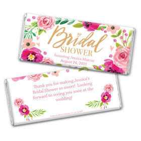 Personalized Bonnie Marcus Bridal Shower Magenta Florals Chocolate Bar Wrappers