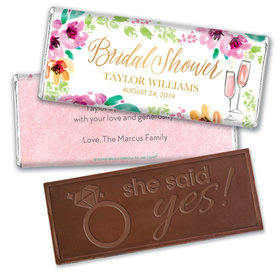 Personalized Bonnie Marcus Embossed Chocolate Bar & Wrapper - Birdal Shower Botanical Bubbly