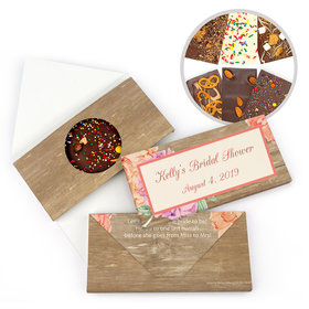 Personalized Bonnie Marcus Blooming Joy Bridal Shower Gourmet Infused Belgian Chocolate Bars (3.5oz)