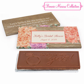 Deluxe Personalized Blooming Joy Bridal Shower Embossed Chocolate Bar in Gift Box