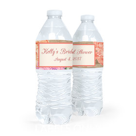 Personalized Bridal Shower Blooming Joy Water Bottle Sticker Labels (5 Labels)