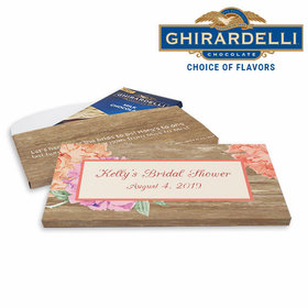 Deluxe Personalized Blooming Joy Bridal Shower Ghirardelli Chocolate Bar in Gift Box