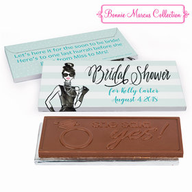 Deluxe Personalized Showered in Vogue Bridal Shower Embossed Chocolate Bar in Gift Box