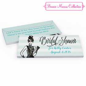 Deluxe Personalized Showered in Vogue Bridal Shower Chocolate Bar in Gift Box