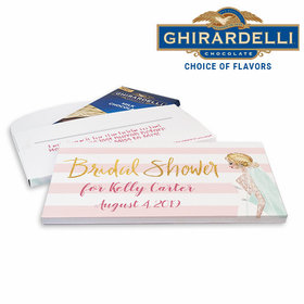 Deluxe Personalized Bridal March Bridal Shower Ghirardelli Peppermint Bark Bar in Gift Box (3.5oz)