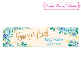 Personalized Blue Flowers Bridal Shower 5 Ft. Banner
