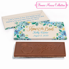 Deluxe Personalized Here's Something Blue Bridal Shower Embossed Chocolate Bar in Gift Box