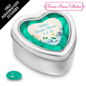 Bonnie Marcus Collection Personalized Small Heart Tin Bridal Shower Here's Something Blue Personalized (25 Pack)