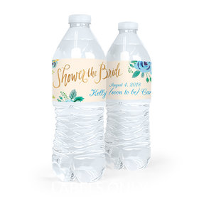 Personalized Bridal Shower Something Blue Water Bottle Sticker Labels (5 Labels)