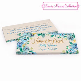 Deluxe Personalized Here's Something Blue Bridal Shower Chocolate Bar in Gift Box