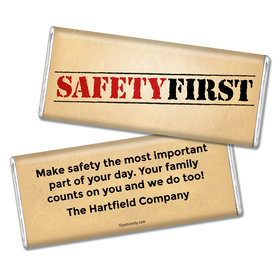 "Personalized Chocolate Bar ""Safety First"" National Safety Month"