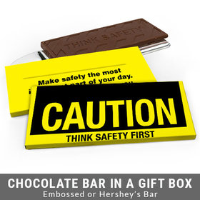 Deluxe Personalized Caution Business Chocolate Bar in Gift Box