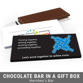 Deluxe Personalized Teamwork Puzzle Business Chocolate Bar in Gift Box