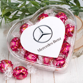 Personalized Valentine's Day Add Your Logo Clear Heart Box with Lindor Valentine Heart Truffles