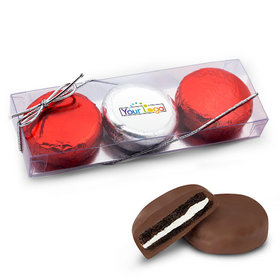 Add Your Logo Valentine's Day Little Hearts 3Pk Belgian Chocolate Covered Oreo Cookies
