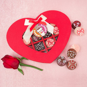 Personalized Valentine's Day Add Your Logo Gourmet Belgian Chocolate Truffle Heart Gift Box (16 Truffles)