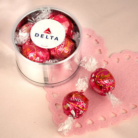 Personalized Valentine's Day Add Your Logo Plastic Gift Tin Approx 9 Lindor Truffles by Lindt