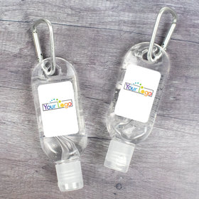 Custom Business Add Your Logo Hand Sanitizer with Carabiner - 1 fl. oz bottle