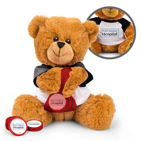 Personalized Add Your Logo Business Teddy Bear with Chocolate Coins in XS Organza Bag