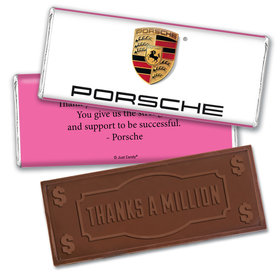 Personalized Business Promotional Add Your Logo Embossed Thanks a Million Chocolate Bar