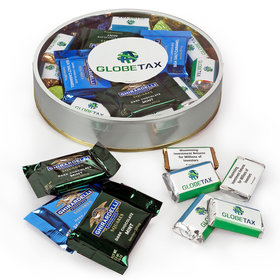 Personalized Add Your Logo Large Plastic Tin with Ghirardelli Squares & Hershey's Miniatures