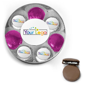 Personalized Add Your Logo Chocolate Covered Oreo Cookies Large Silver Plastic Tin