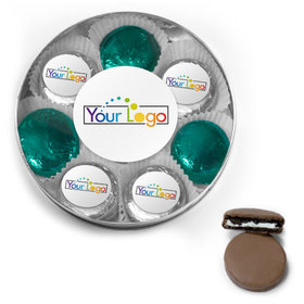 Personalized Add Your Logo Belgian Chocolate Covered Oreo Cookies Large Silver Plastic Tin