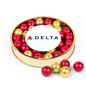 Personalized Add Your Logo Large Plastic Tin with Gold & Red Caramel Filled Foil Balls