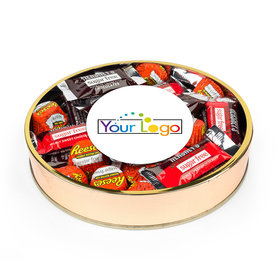 Personalized Add Your Logo Large Plastic Tin with Sugar Free Hershey's & Reese's Mix
