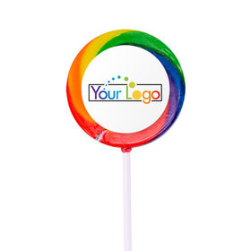 Personalized Add Your Logo Small Swirly Pop with Sticker (24 Pack)