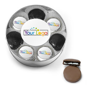 Personalized Add Your Logo Belgian Chocolate Covered Oreo Cookies XL Silver Plastic Tin