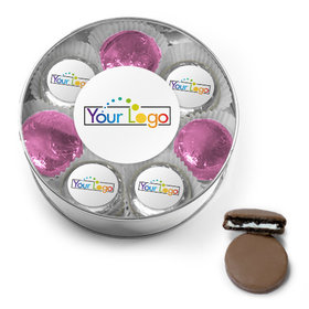 Personalized Add Your Logo Chocolate Covered Oreo Cookies XL Silver Plastic Tin