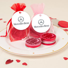 Personalized Valentine's Day Add Your Logo Chocolate Coins in XS Organza Bags
