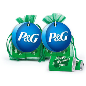 Personalized St. Patrick's Day Hershey's Miniatures in XS Organza Bags with Add Your Logo Gift Tag