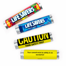 Personalized Safety Caution Business Lifesavers Rolls (20 Rolls)