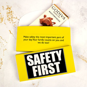 Deluxe Personalized Business Safety First Godiva Chocolate Bar in Gift Box
